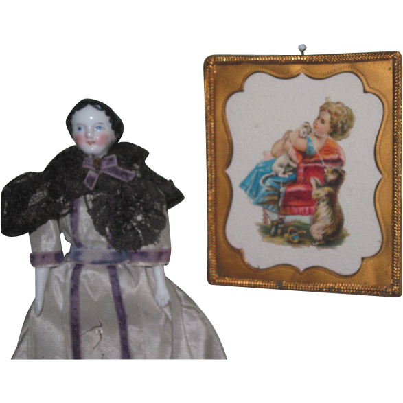 CHARMING Miniature Victorian Die Cut Dollhouse Picture with Ormolu Frame!