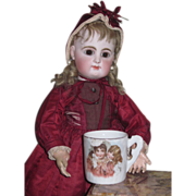 CHARMING Miniature Victorian Porcelain Bebe Cup with Portrait of Little Girls!