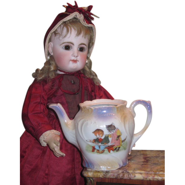 WHIMSICAL Rare Miniature Victorian Painted Porcelain Tea Pot with CAT MOTIF!