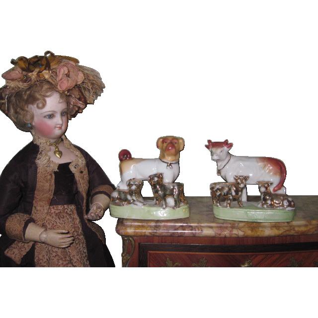 CHARMING Rare Pair of German Victorian Miniature Porcelain Animal Figurines!