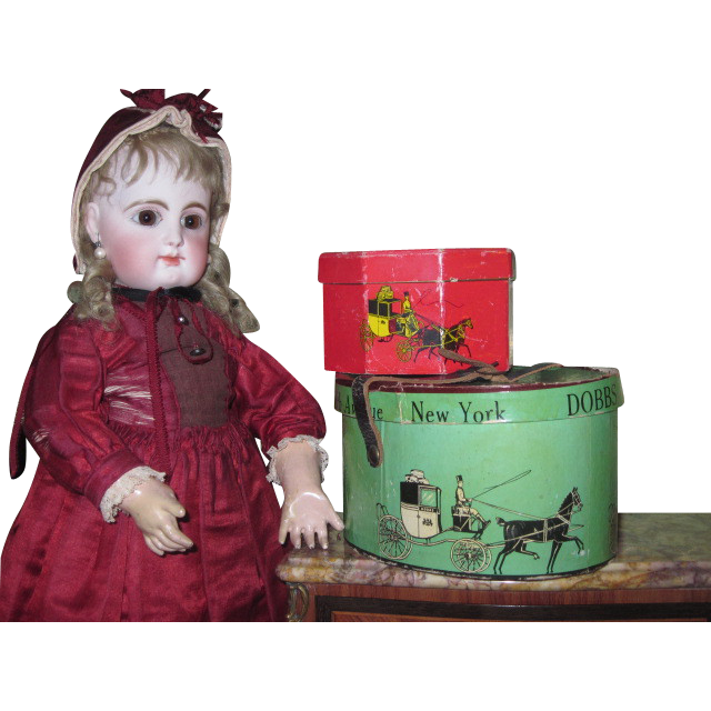 SALE! Charming Pair of Festive Vintage Miniature Dobbs Hat Boxes for Doll Display!