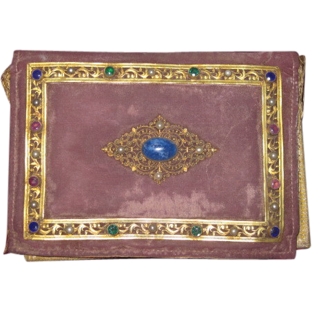 RARE Victorian Jeweled Purple Velvet Small Portfolio Purse!