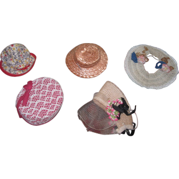 FABULOUS Collection of 5 Vintage Smaller Size Doll Hats!