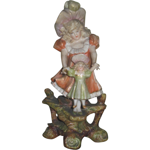 SWEET Rare German Porcelain Victorian Figurine of Little Girl and Her Doll!