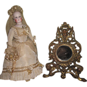 SALE! Exquisite French Victorian Miniature Vanity Mirror with CHERUB MOTIF!