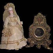 SALE! Exquisite French Victorian Miniature Vanity Mirror with CHERUB MOTIF!