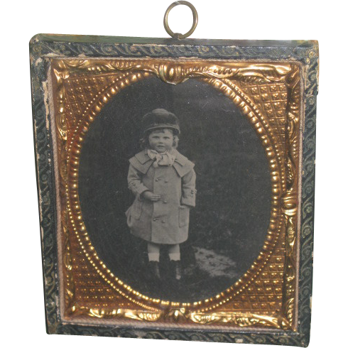 CHARMING Victorian Framed Tintype of Victorian Little Girl in Winter Scene!