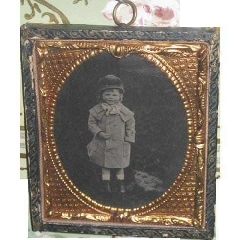 CHARMING Victorian Framed Tintype of Victorian Little Girl in Winter Scene!