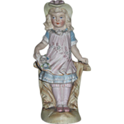 EXQUISITE Miniature German Victorian Porcelain Figurine of Fancy Little Girl!