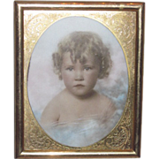 SALE! Miniature Hand Tinted Victorian Photograph on Porcelain of CHERUBIC CHILD!