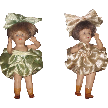 SALE! Sweet All Original Pair of Celluloid Dollhouse Twin Girl Dolls!