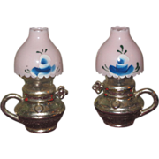 CHARMING Vintage Miniature GWTW Lamp Salt & Pepper Shakers for DOLL DISPLAY!