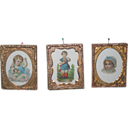 CHARMING Set ot 3 Miniature Victorian German Die Cut Pictures in Ormolu Frames!