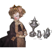 SUPERB 7 Piece Miniature German Victorian Fashion Doll Coffee Set with RARE SAMOVAR!
