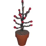 WHIMSICAL HTF Vintage Miniature Dollhouse Potted Berry Tree!
