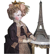 CHARMING Vintage Miniature French Bronzed Metal Eiffel Tower for DOLL DISPLAY!