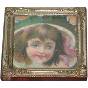 SWEET Miniature Victorian Framed Dollhouse Lithograph Portrait of Little Girl!