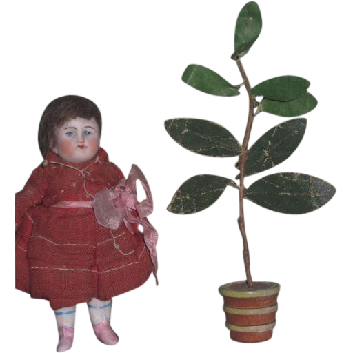 CHARMING HTF Circa 1930's Vintage Miniature German Dollhouse Potted Plant!