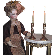 SUPERB Pair of Antique Miniature French Fashion Doll Fancy Brass Candlesticks!