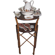 SALE! Antique French Victorian Miniature Bamboo Wood Doll's Toilette Table with VANITY ACCESSORIES!