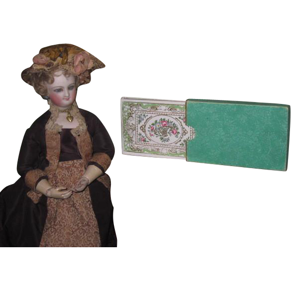 SALE! Magnificent Rare Miniature French Victorian Fully Stocked Papeterie Box w/Hand Colored Lithograph!