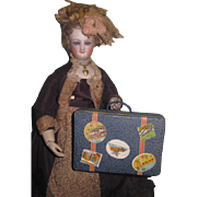 FABULOUS Vintage French Fashion Doll Candy Container Miniature Suitcase!