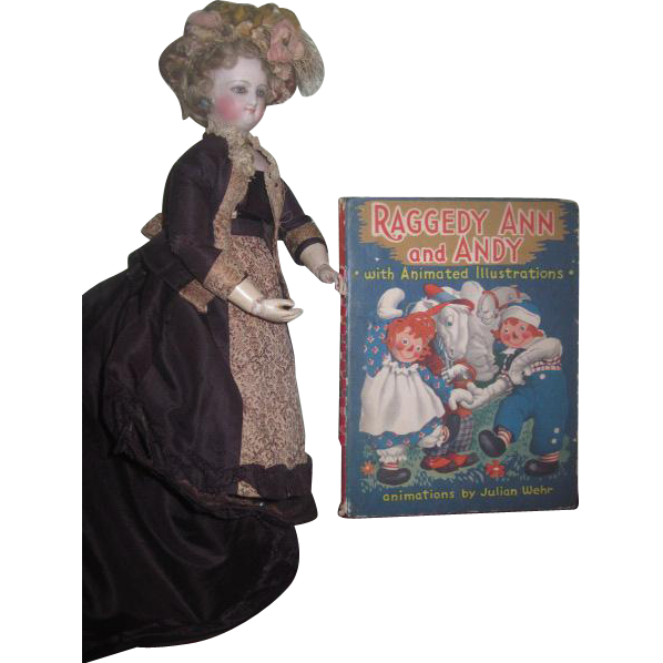 "CHARMING Circa 1944 ""Raggedy Ann and Andy"" Book with Animated Illustrations~AS FOUND!"