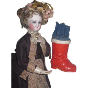 CHARMING Vintage German Miniature Paper Mache Santa Boot Candy Container!