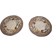 CHARMING Matching Pair of Vintage Miniature Floral Round Woven Dollhouse Rugs!