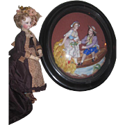 MAGNIFICENT Rare Large Antique French Victorian Framed Two Dimensional Porcelain Figural Scene!