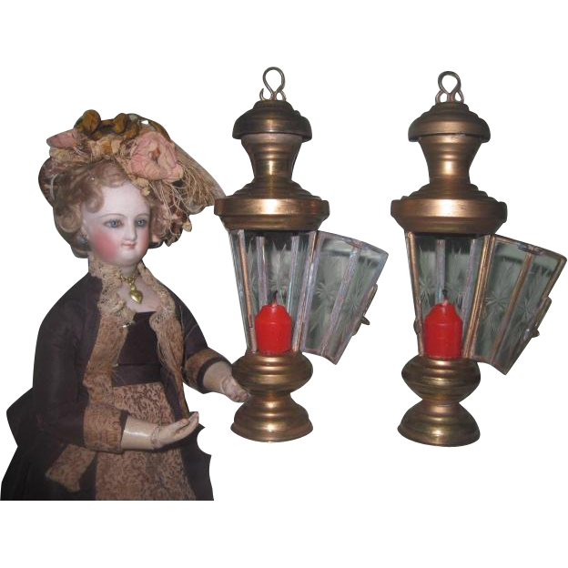 AMAZING Pair of Antique/Vintage Miniature Brass Lanterns with ETCHED GLASS!