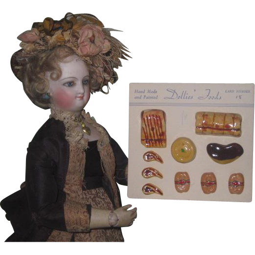 "RARE Old Store Stock Miniature Hand Painted Composition ""Dollie's Foods"" on Original Card!"