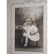 CHARMING Matted Antique Cabinet Photograph of Beautiful Little Girl and Her German Doll!