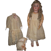 "SPECTACULAR Huge 33"" Antique German Dolly Faced Child Doll with Factory Original Blonde Mohair EXTENDED WIG!"