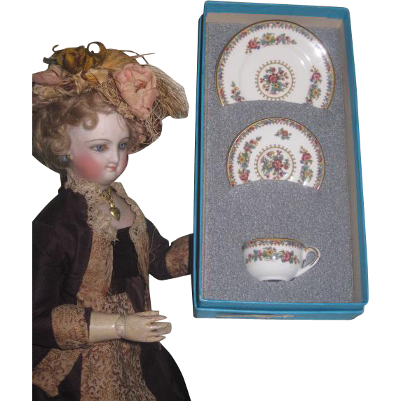Vintage Miniature Coalport Ming Rose Bone China Tea Set in Original Box~FASHION DOLL Size!