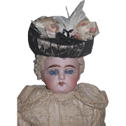 "FACTORY ORIGINAL Antique Cabinet Size 10"" Antique German Heubach Bisque Head Doll with FRENCH APPEAL!"