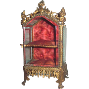 SALE!  Magnificent Antique French Miniature Ormolu Vitrine for DOLL DISPLAY!