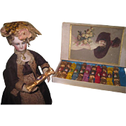 REDUCED! Extremely Rare All Original Boxed Set of Antique Miniature Christmas Victorian Doll Party Crackers!