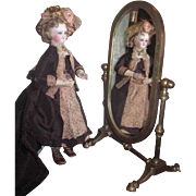 CHARMING Vintage Miniature Brass French Fashion Doll Cheval Mirror!