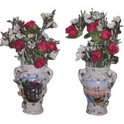 FINE QUALITY Antique Elfinware Type Miniature Painted Floral Bouquet Urns for FASHION DOLLS!