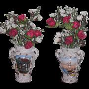 FINE QUALITY Antique Elfinware Type Miniature Painted Floral Bouquet Urns for FASHION DOLLS!