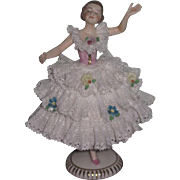 "EXQUISITE 5"" Antique German Dresden Ballerina Figurine!"