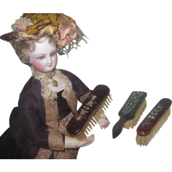 SALE! Deluxe Set of 3 Antique Miniature Inlay/Enamel Fashion Doll Toilette Brushes!