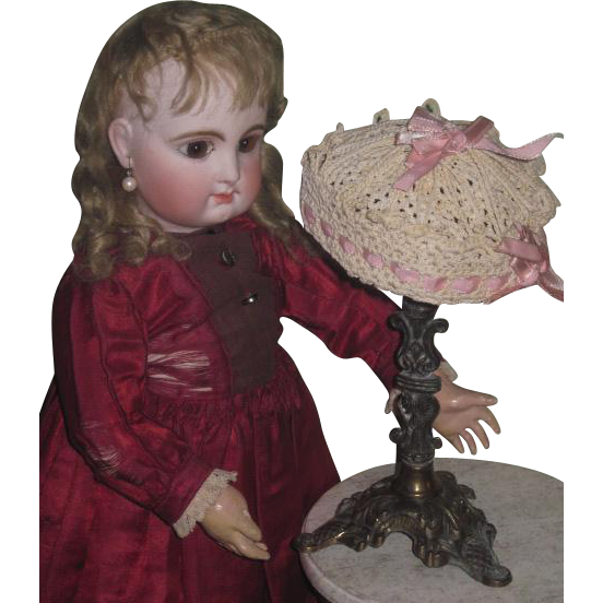 SALE! Charming Antique Fancy Hand Crocheted Doll Hat for JUMEAU or STEINER Bebes!