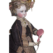 SALE! Tiny Antique Miniature French Fashion Doll Pink Enamel Guillouche Chatelaine Hand Mirror!