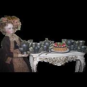 SALE! Charming Antique 19 Piece Miniature Fashion Doll Toy Pewter Dessert Set for 4!