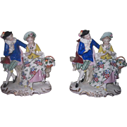 SALE! QUALITY Pair of Antique German Porcelain Mantel Figurines!