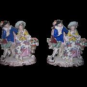 SALE! QUALITY Pair of Antique German Porcelain Mantel Figurines!