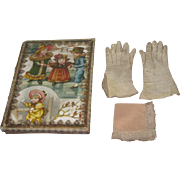 SALE! Set of Antique French Fashion Doll Gloves and Lace Handkerchief in Lithograph Presentation Box!