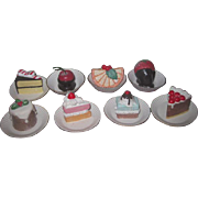 DELECTABLE Miniature Painted Porcelain Eight Piece Dessert Set for DOLL DISPLAY!